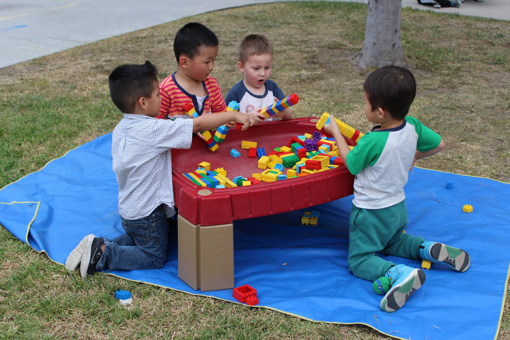 Emanuel Lutheran Preschool Students Playing with Blocks